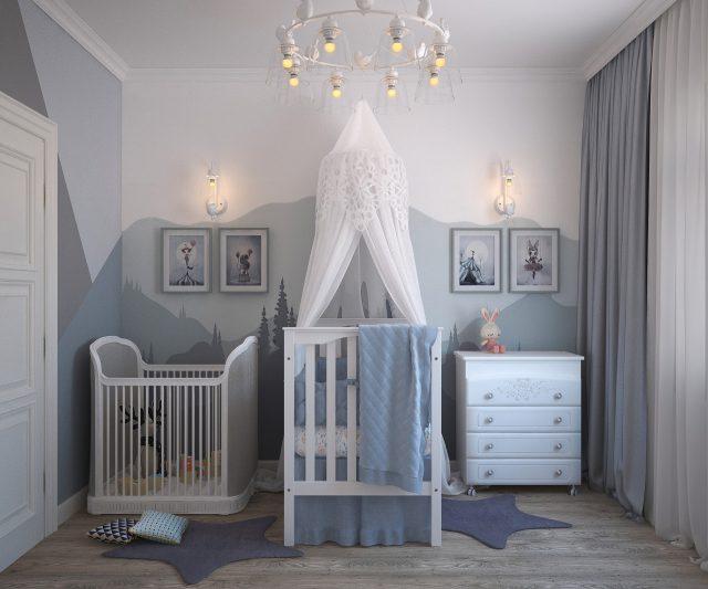 Cameretta neonato, culla, fasciatoio e box